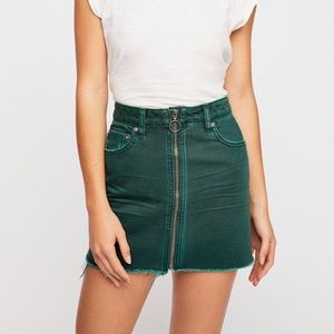 We The Free Green Zip Mini Skirt Free People